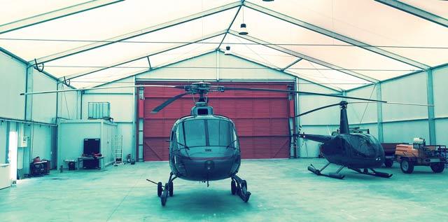 Intérieur d'un hangar démontable - AIRSPACE